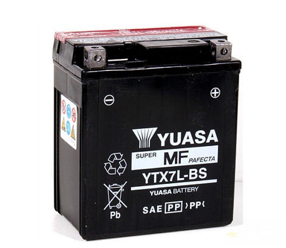 Moto batéria YUASA 12V YTX7L-BS 6Ah